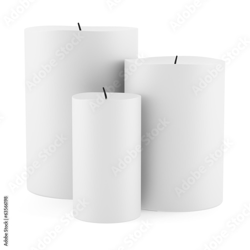 three candles isolated on white background
