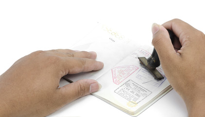 passport pages and immigration stamp