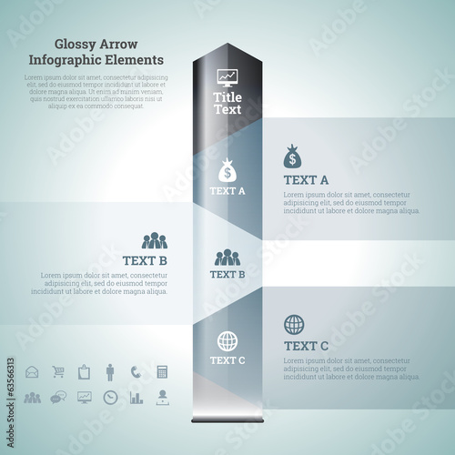 Glossy Arrow Infographic Elements
