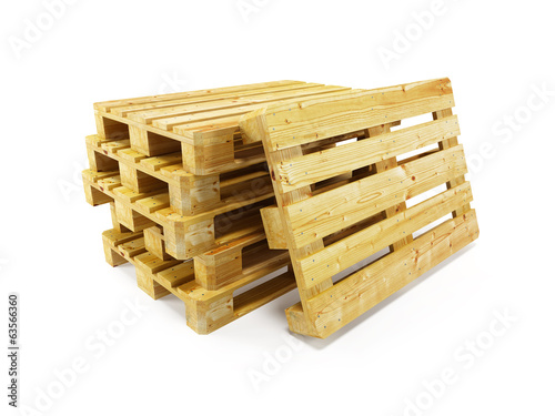 wooden pallets, isolated on white