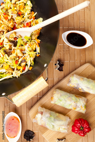 Preparing to serve spring rolls to eat