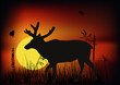 single deer at sunset illustration