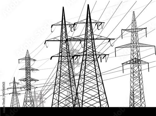 electric towers group isolated on white