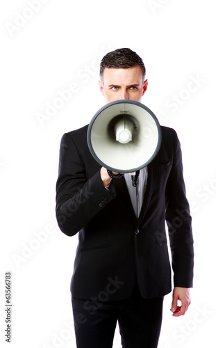 Handsome businessman with megaphone