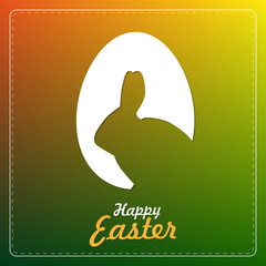 Easter egg with bunny shape, paper cut, easter vector card