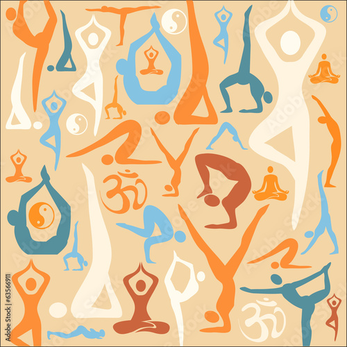 Yoga silhouette icons pattern background