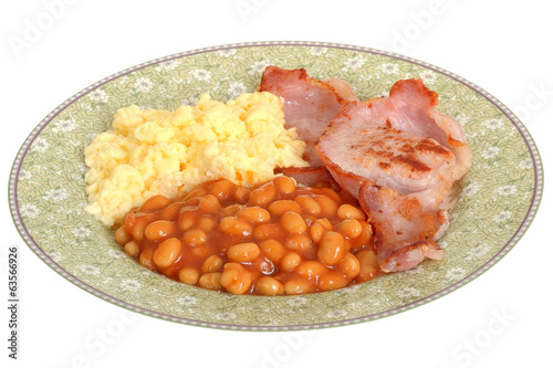 Scrambled Eggs with Bacon and Baked Beans