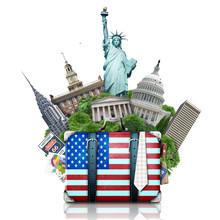 Fototapete - USA, landmarks USA, suitcase and New York