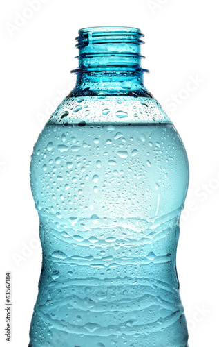 bottle with water splash isolated