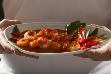 thai food, Thai food shrimp in spicy herb coconut milk sauce