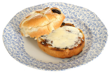 Toasted Buttered Hot Cross Bun