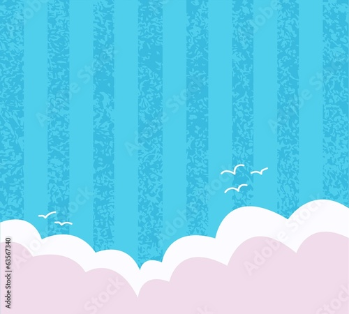 blue background with texture, seagulls and clouds