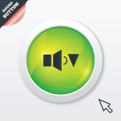 Speaker low volume sign icon. Sound symbol.