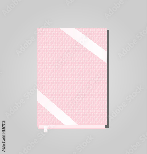 Pink hardcover book, vector illustration