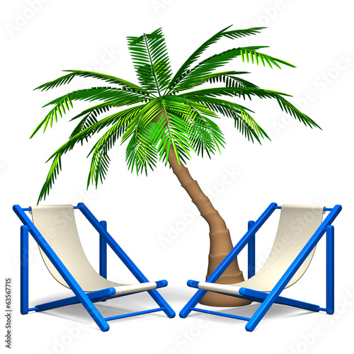 Palm Trees With Beach Chairs