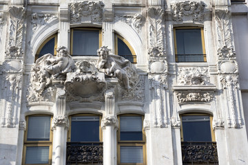 Milan, Art Nouveau facade detail in Liberty square, Lombardy