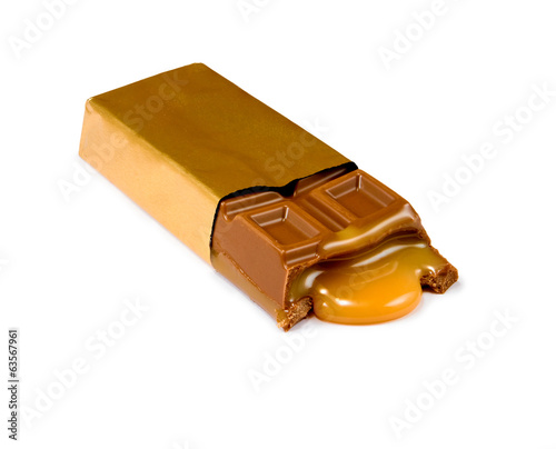 Isolated image of a chocolate bar filled with closeup