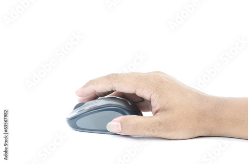 Hand click on modern computer mouse isolated on white