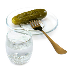 image of glasses with vodka and pickled cucumber