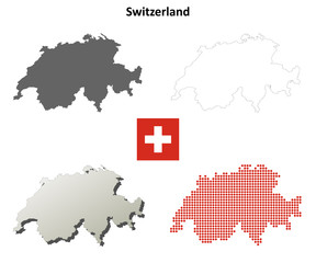 Blank detailed contour maps of Switzerland