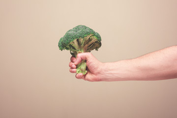 Hand holding broccoli