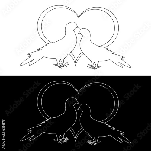 Monochrome contour silhouette of two doves and a heart