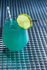 Cocktail with blue caracao caviar