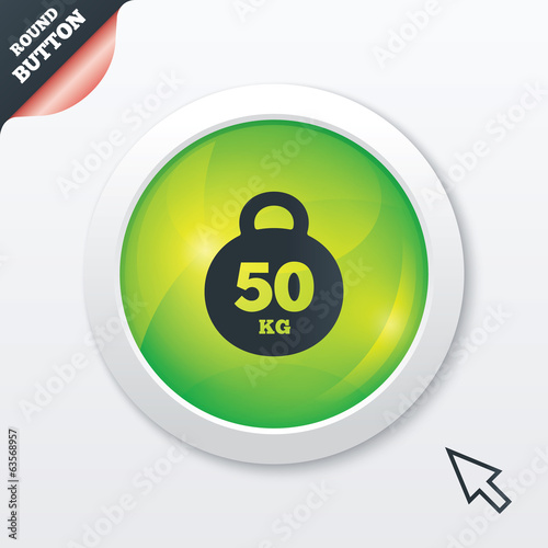 Weight sign icon. 50 kilogram (kg). Sport symbol