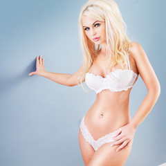 sexy blonde in white lingerie