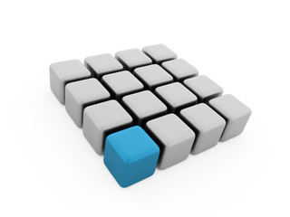Abstract blue cubes background rendered