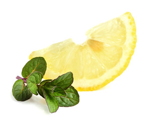 Slice of lemon with mint.