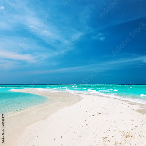 Beautiful beach with sandspit at Maldives