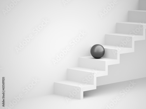 One black spheres on stairs business