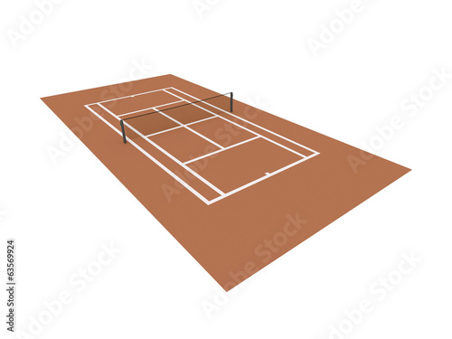 Red tennis court rendered isolated