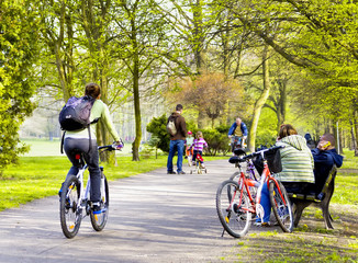 Bike riders in spring park