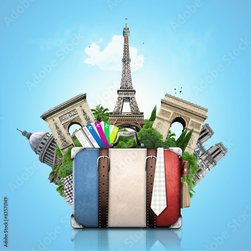 France, landmarks Paris, retro suitcase, travel