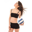 Young sporty woman portrait with volleyball ball, isolated again