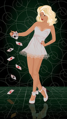 Sexual blonde woman with poker cards, vector illustration