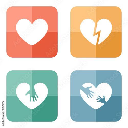 Different heart icons collection