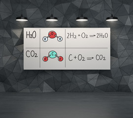 Chemical elements H2O, CO2. Grey modern room