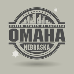 Stamp or label with text Omaha, Nebraska inside