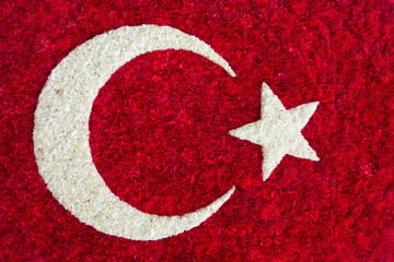 Turkish Flag made of flowers