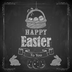 Happy Easter on chalkboard