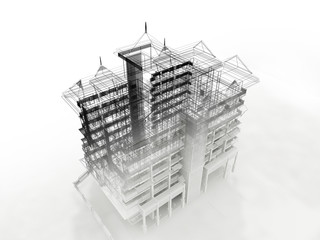 abstract sketch design of building