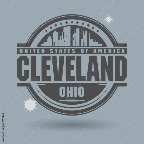 Stamp or label with text Cleveland, Ohio inside, vector