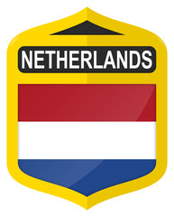 Netherlands - Golden shield icon with national flag