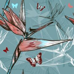 bird of the paradise flowers seamless pattern