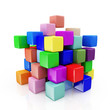 Abstract Colorful Cubes isolated on white background