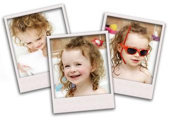 Toddler having fun while bathing - collage