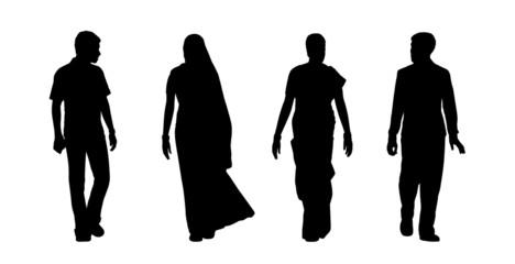 indian people walking silhouettes set 5